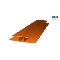 Поликарбонатный профиль ROYALPLAST HP соединительный янтарь 10мм 6000мм