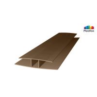 Поликарбонатный профиль ROYALPLAST HP соединительный бронза-серая 10мм 6000мм