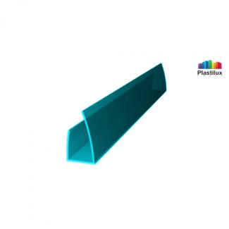 Профиль для поликарбоната ROYALPLAST UP торцевой бирюза 4мм 2100мм